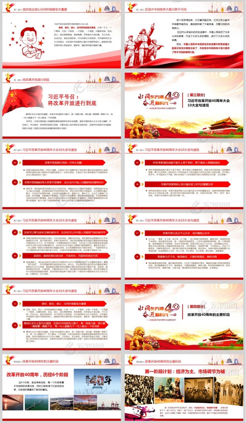 庆祝改革开放40周年大会习近平发表重要讲话PPT模板
