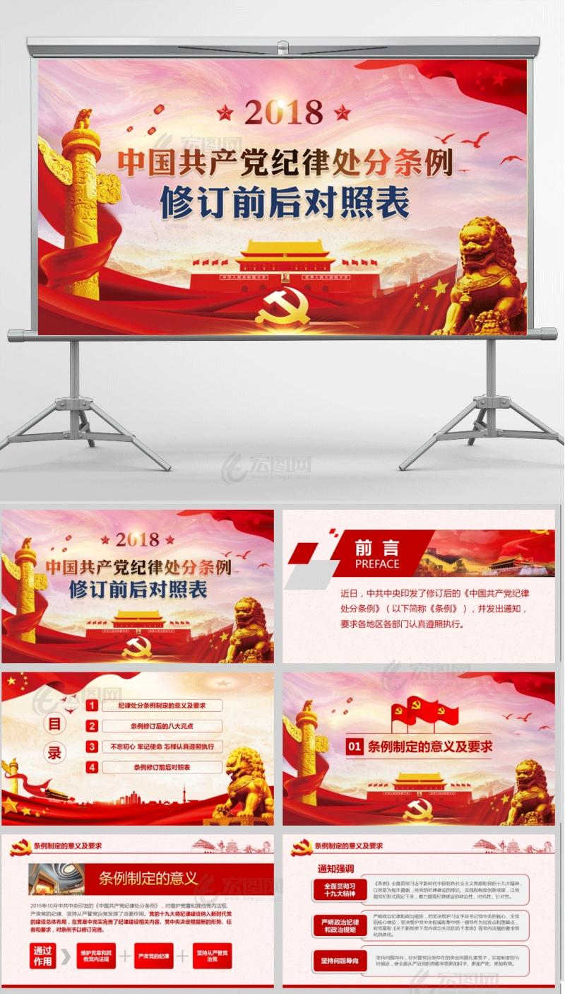 中国共产党纪律处分条例修订前后对照表PPT模板