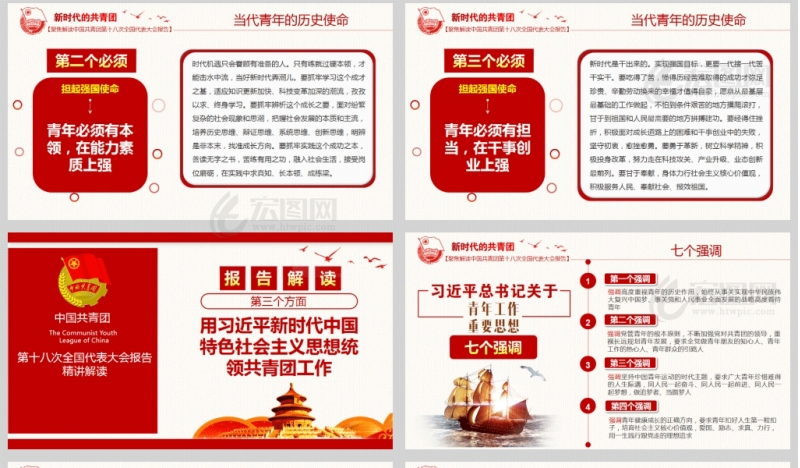 中国共青团第十八次全国代表大会报告精讲解读微团课PPT模板含讲稿