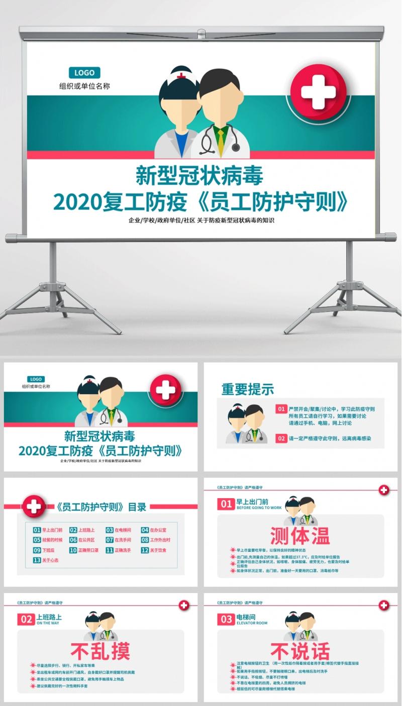 新型冠状病毒 2020复工防疫《员工防护守则》PPT模板