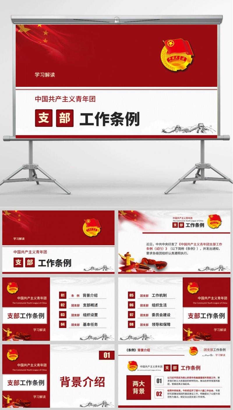 中国共产主义青年团支部工作条例微团课PPT模板含讲稿
