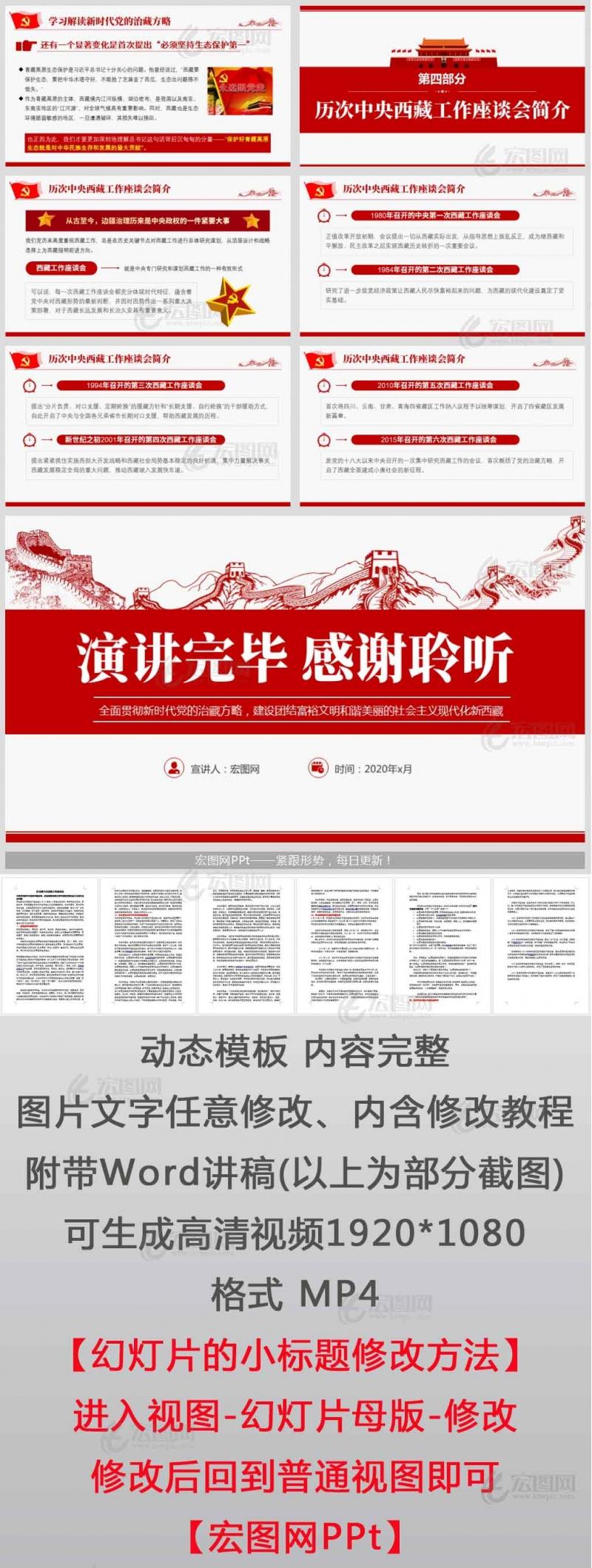中央第七次西藏工作座谈会全面贯彻重要讲话新时代党的治藏方略党课讲稿PPT