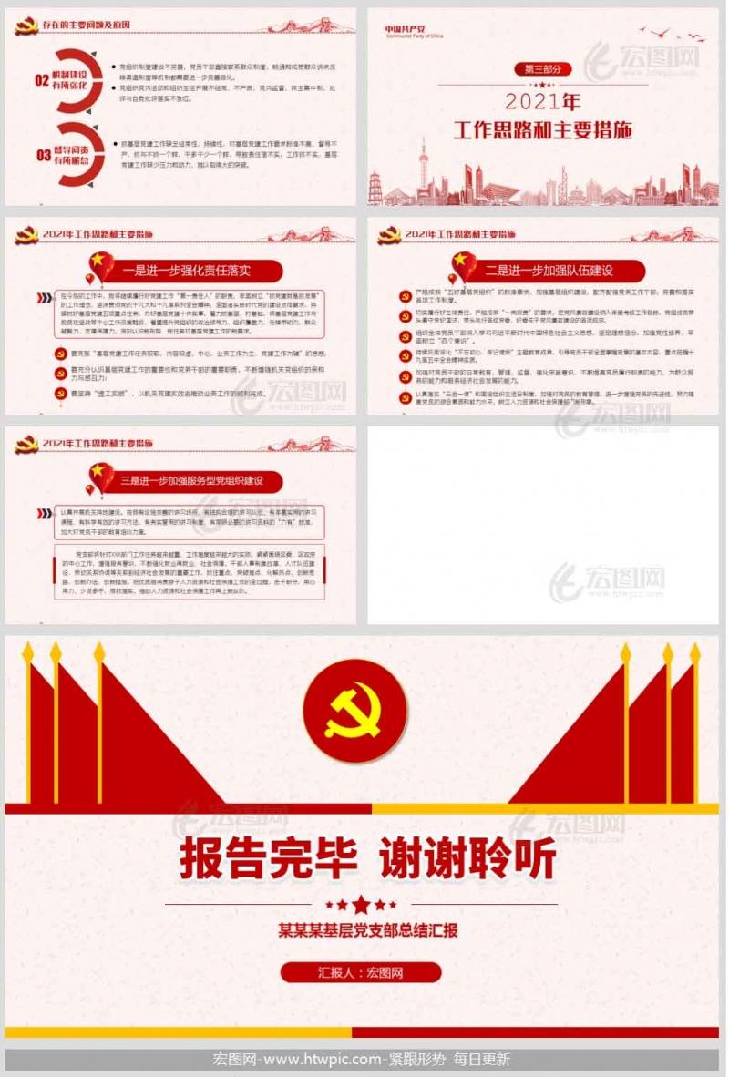 2020年基层党支部党建工作述职报告党课PPT模板及讲稿