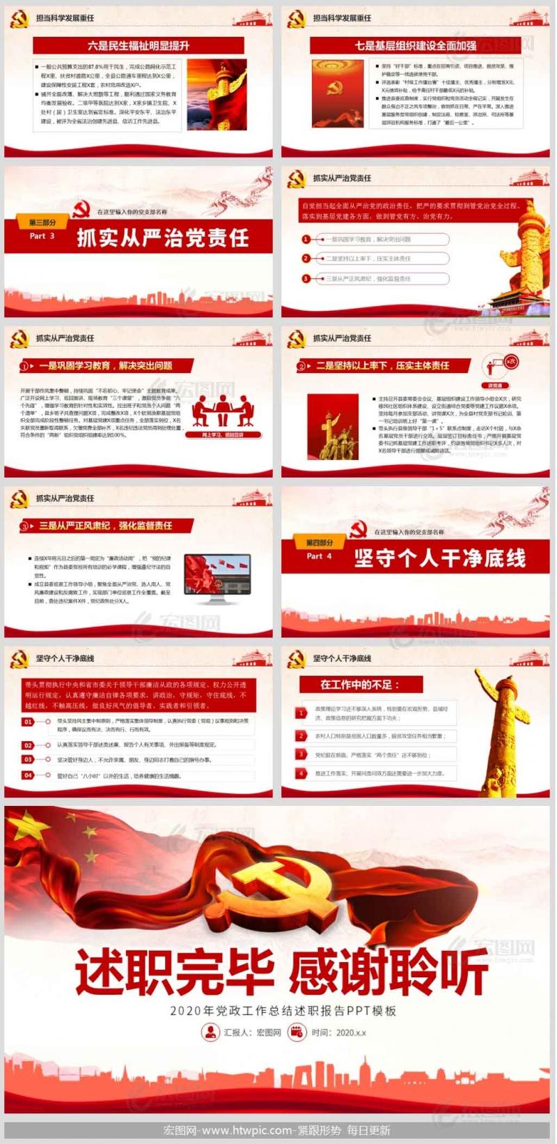 2020年县委书记党政工作总结述职述廉报告PPT模板