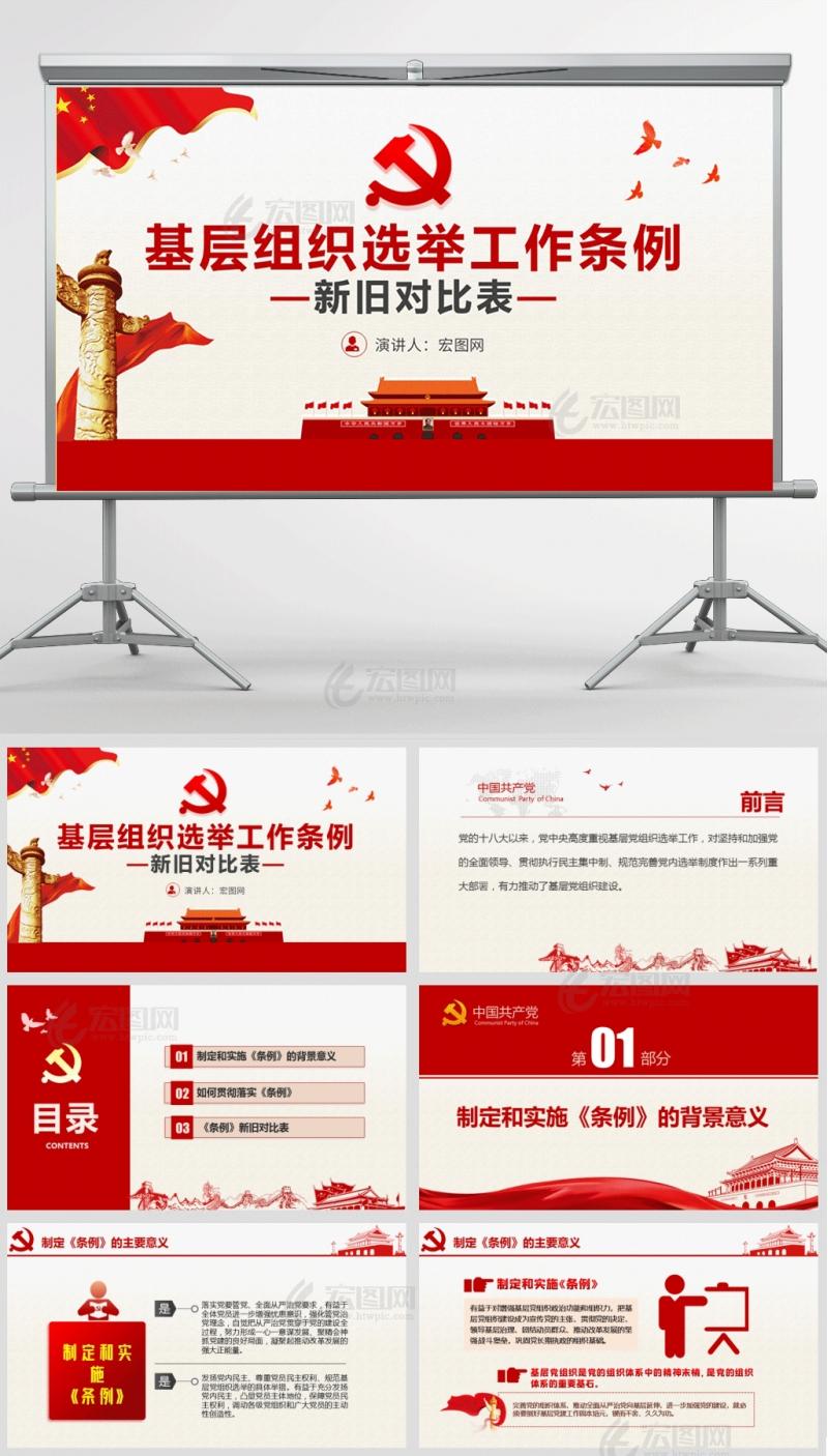 2020年中国共产党基层组织选举工作条例新旧对比表党课PPT