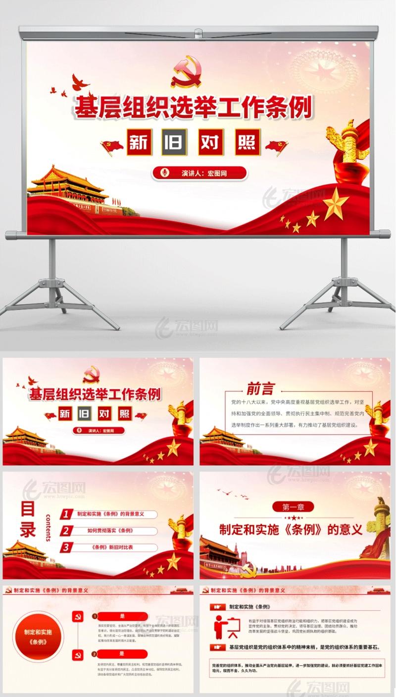 中国共产党基层组织选举工作条例新旧对照PPT含演讲稿