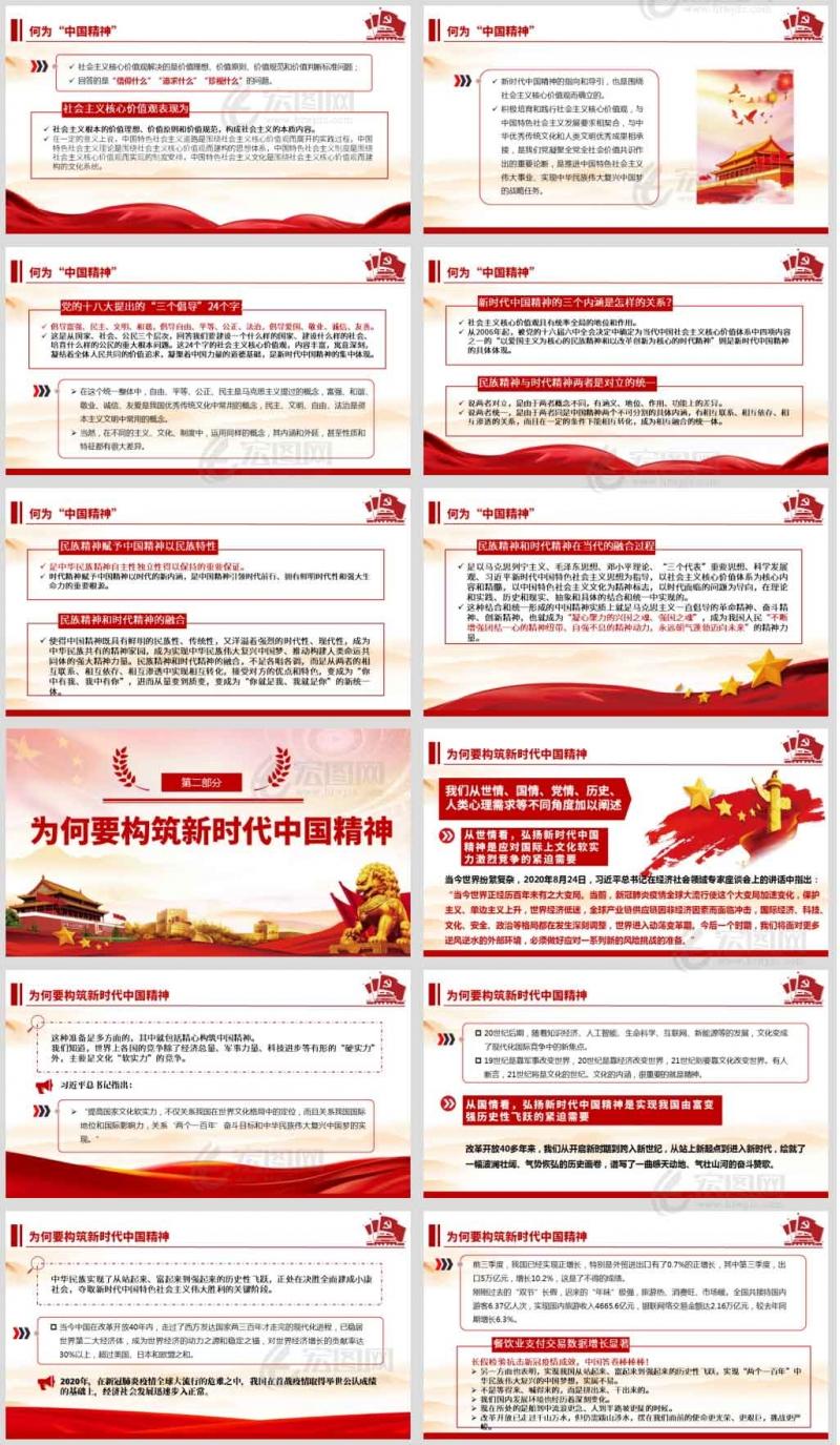 构筑中国精神 奋力圆梦伟大复兴微党课课件PPT及演讲稿