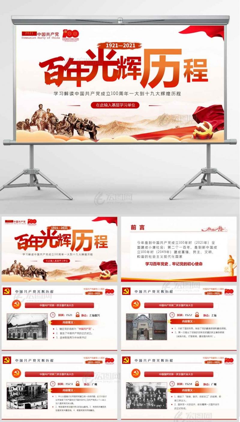 七一建党100周年百年光辉历程党史PPT模板