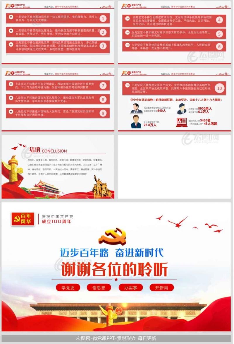 七一建党节百年党史学习教育从百年党史看中国共产党的凝聚力党课ppt模板含演讲稿