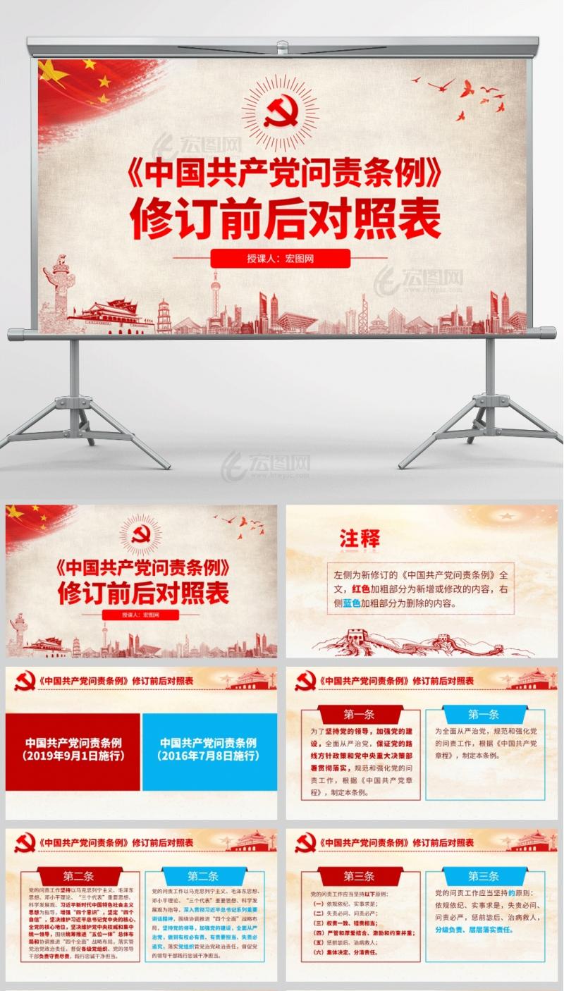 2019中国共产党问责条例修订前后对照表PPT课件