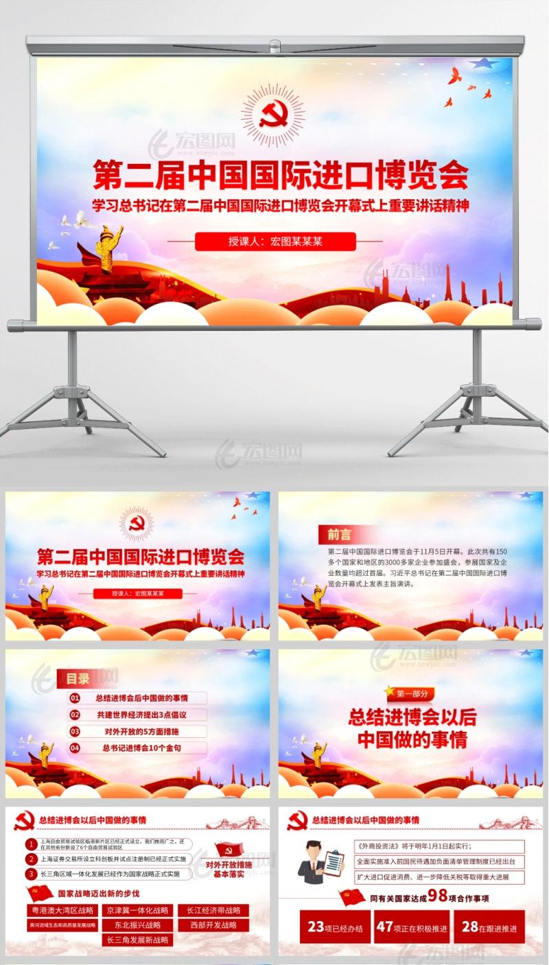 第二届中国国际进口博览会开幕式上的主旨演讲PPT课件模板