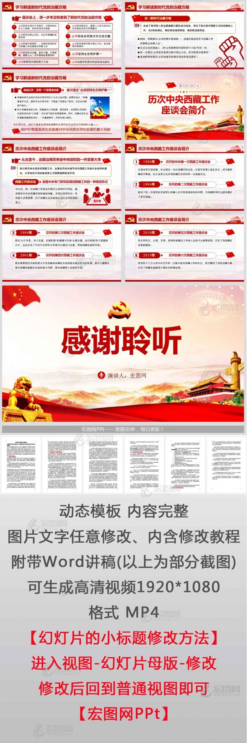 中央第七次西藏工作座谈会全面贯彻新时代党的治藏方略 建设团结富裕文明和谐美丽的社会主义现代化新西藏PPT