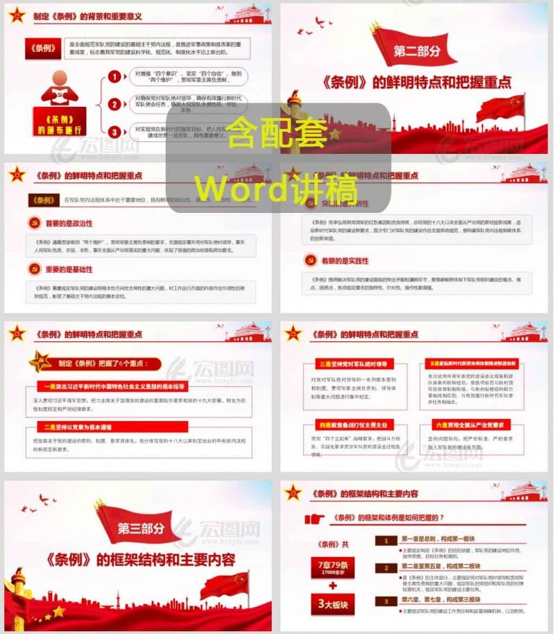 中国共产党军队党的建设条例PPT党课含演讲稿