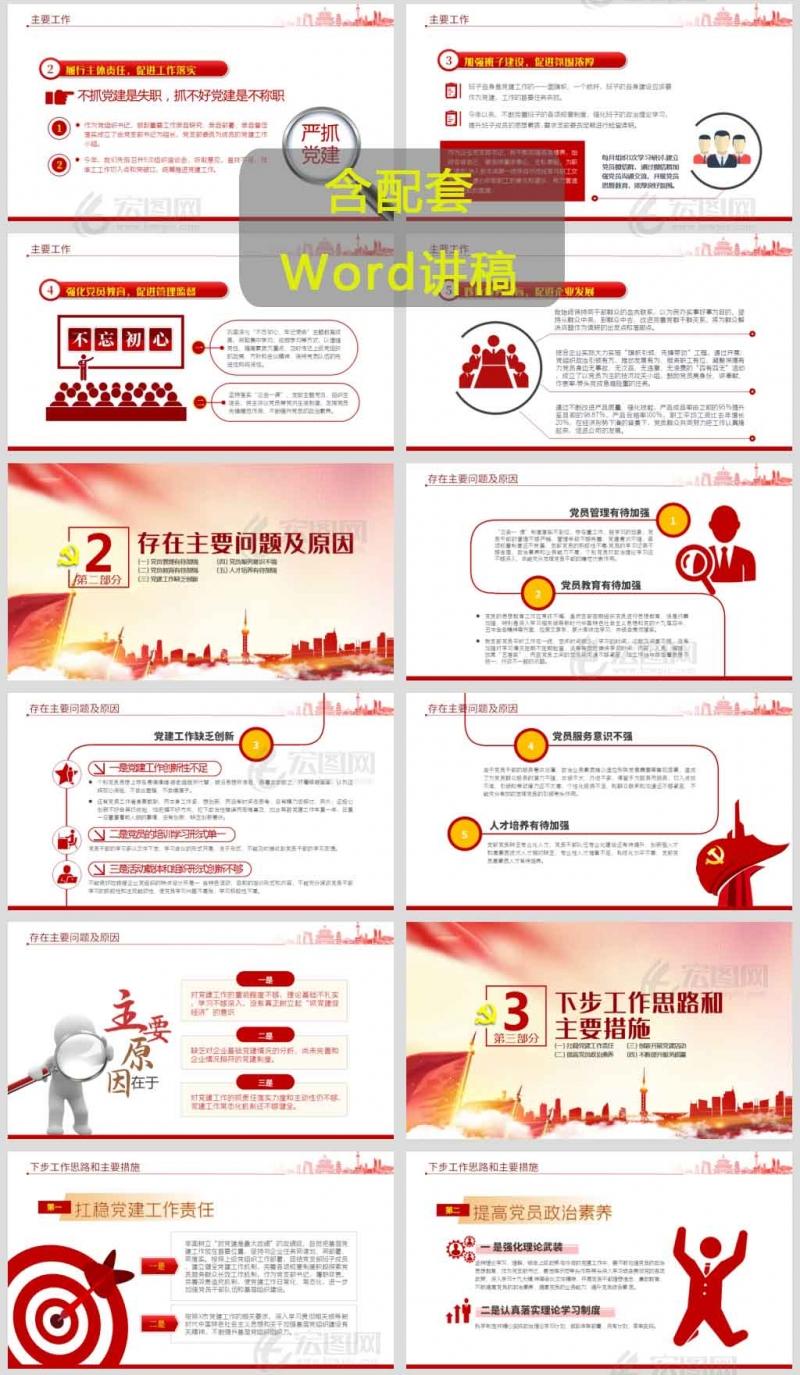 2021公司党支部书记抓基层党建工作述职报告PPT课件模板