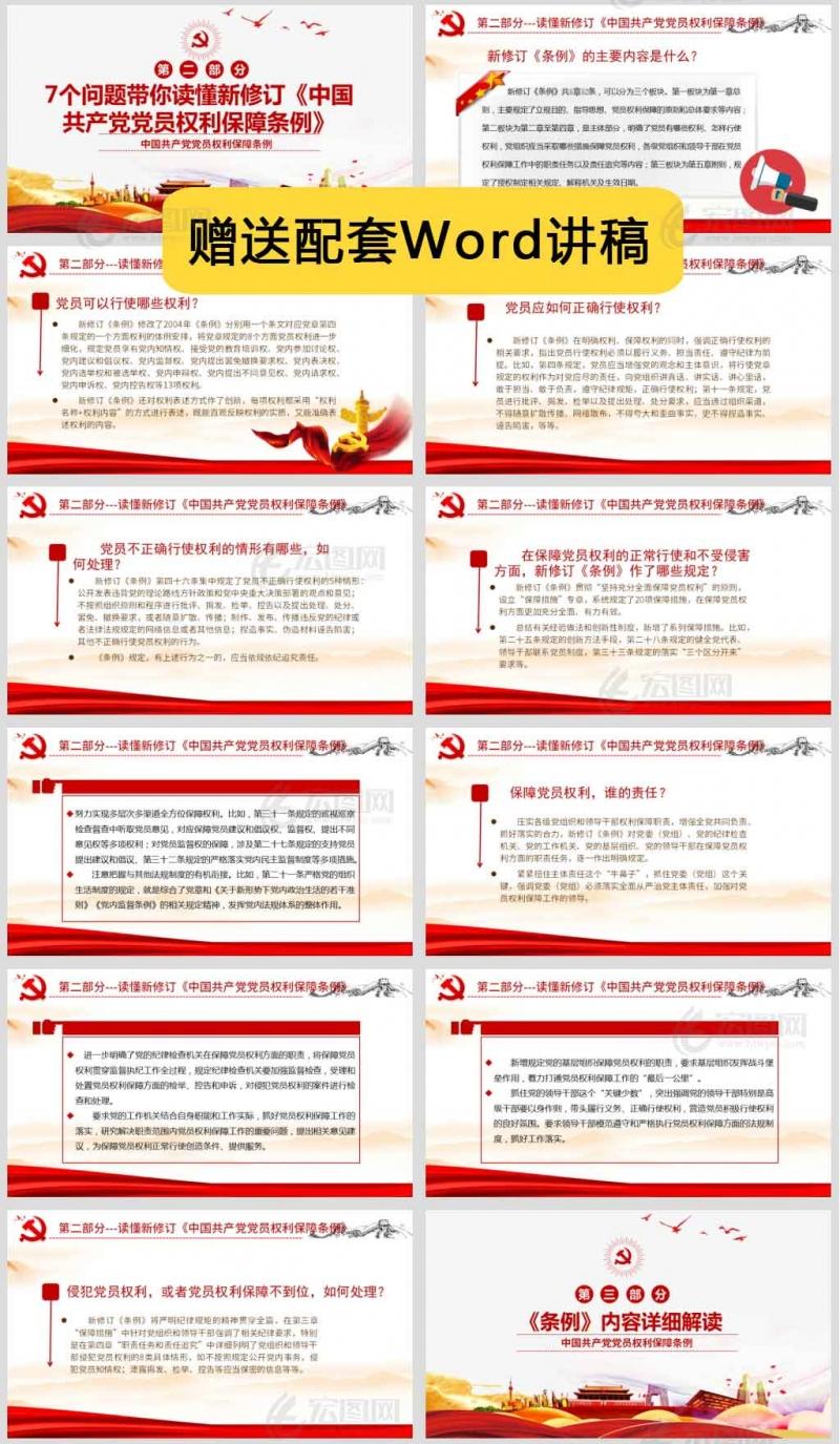 中共中央印发新修订的《中国共产党党员权利保障条例》PPT