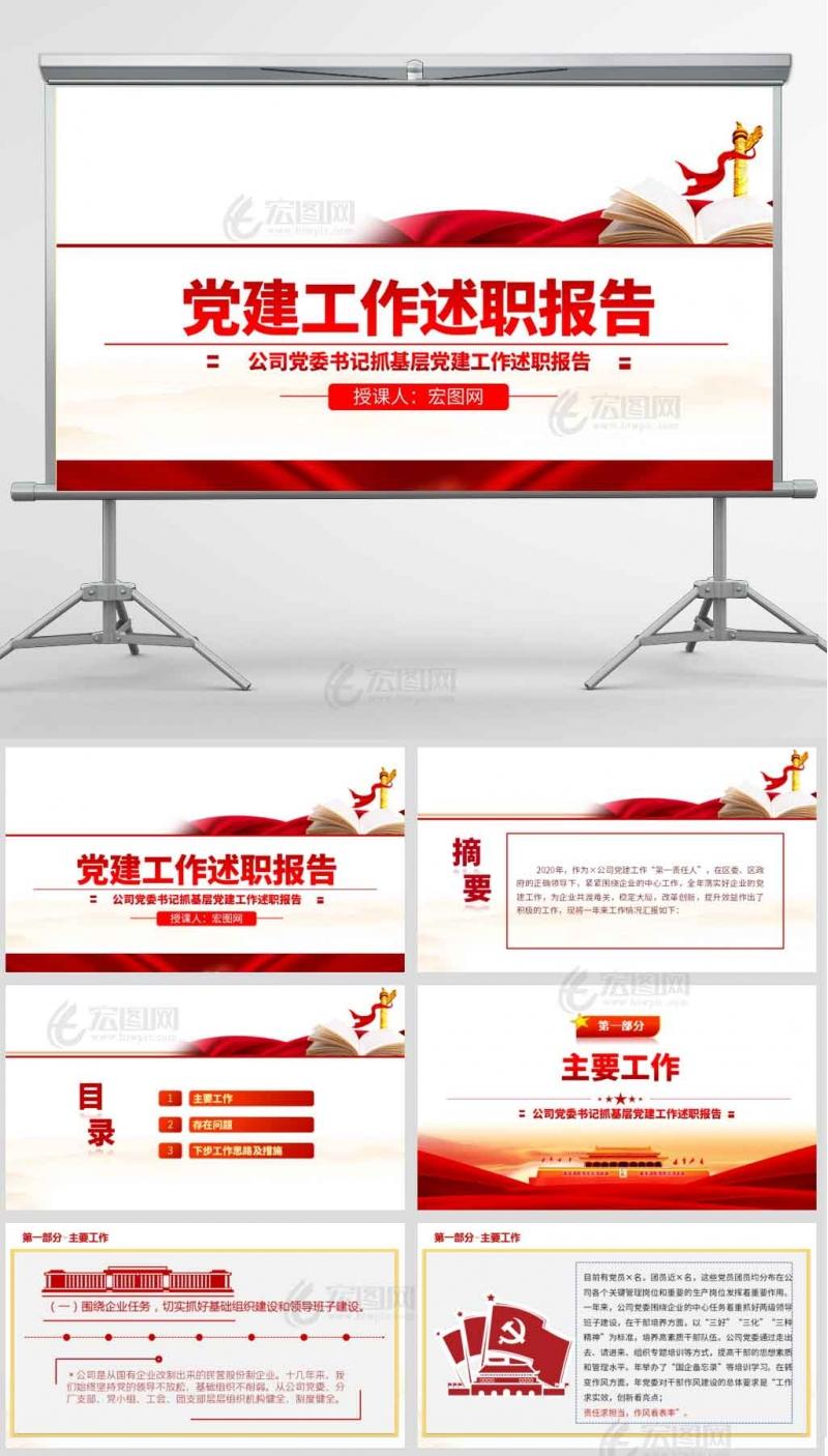 2021年公司党委书记抓基层党建工作述职报告PPT模板