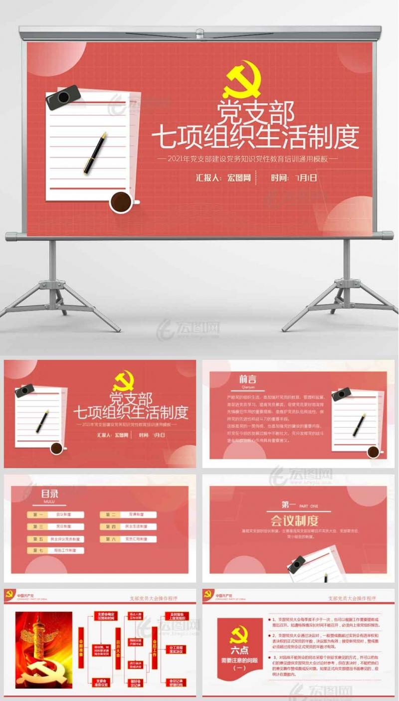 党支部七项组织生活制度落实规范专题党课党员培训PPT