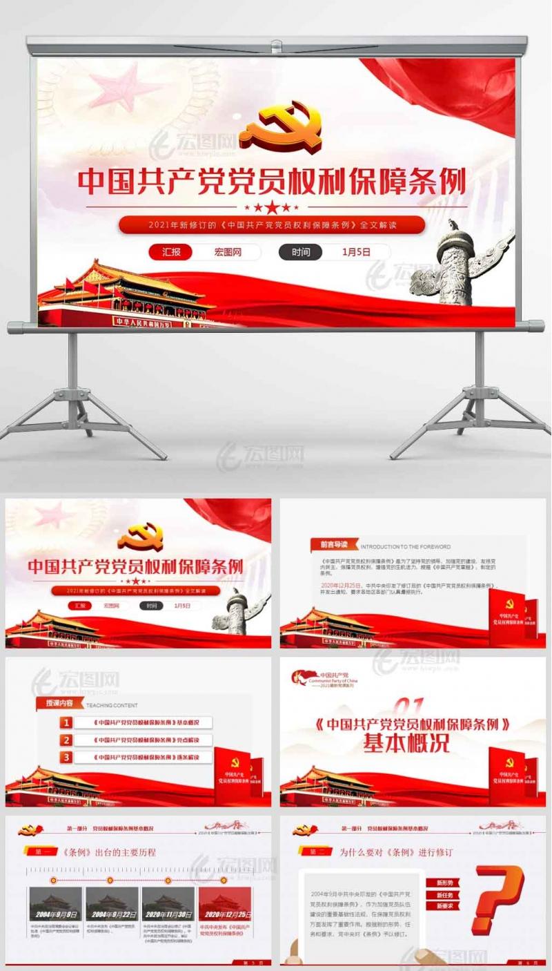 2021年新修订的《中国共产党党员权利保障条例》全文亮点解读党课PPT