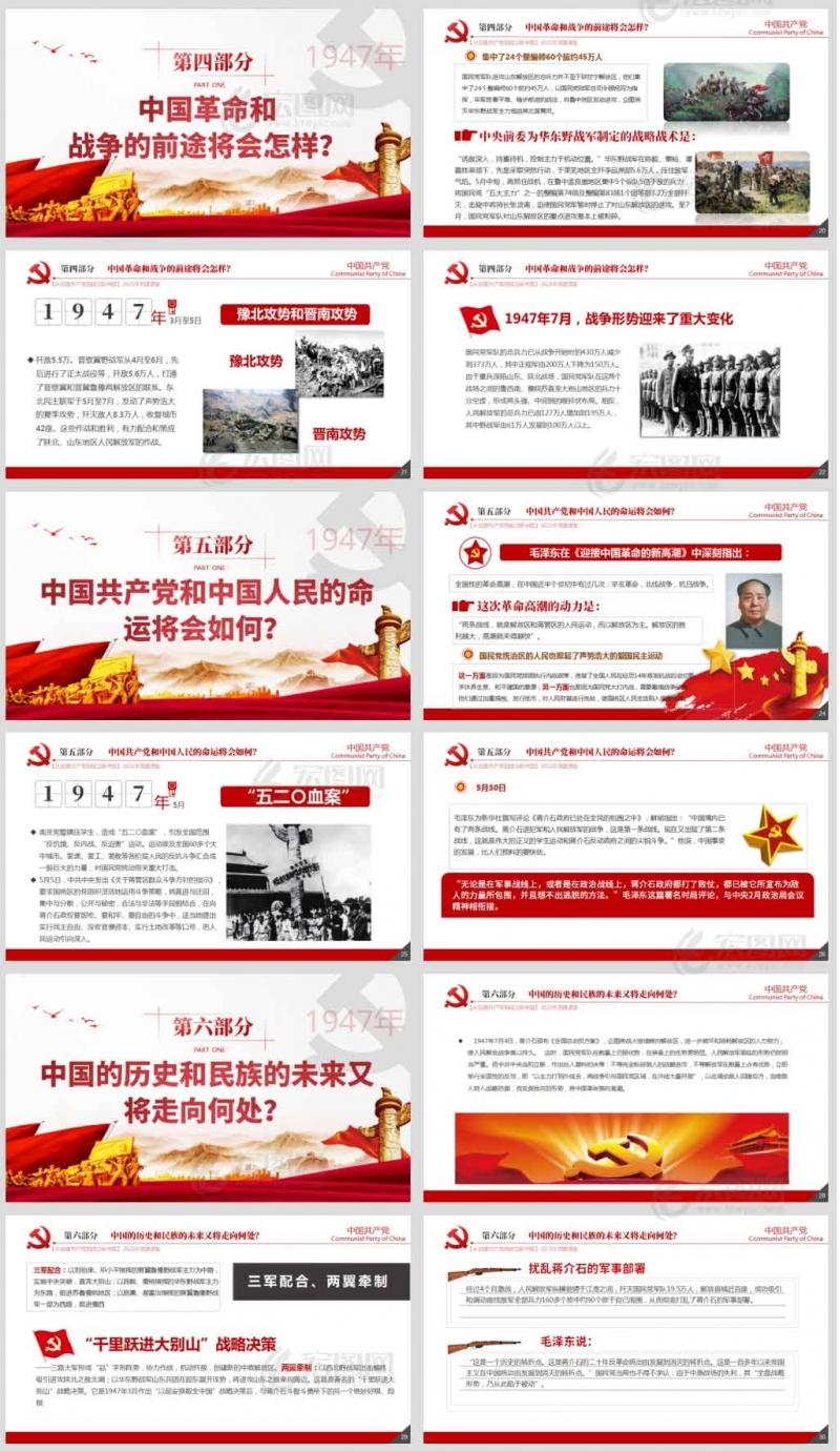 「党史国史PPT」1947迎接革命新高潮领导解放战争从积极防御转入战略进攻党课课件ppt