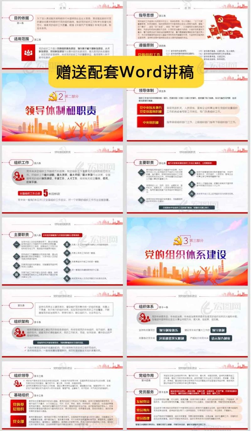中国共产党组织工作条例支部党政党建党课ppt