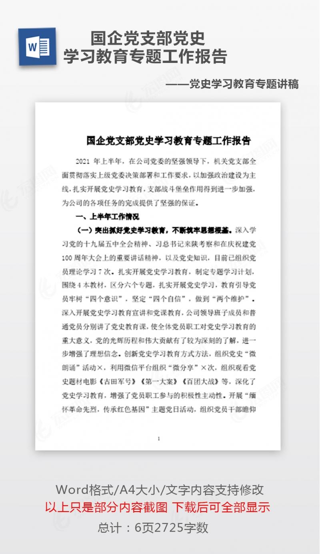 国企党支部党史学习教育专题工作报告