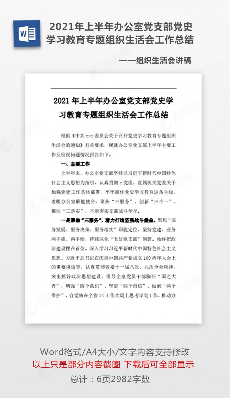 2021年上半年办公室党支部党史学习教育专题组织生活会工作总结