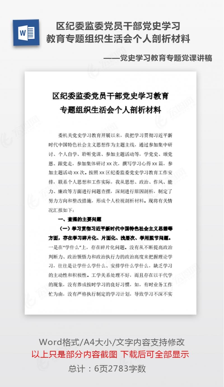 区纪委监委党员干部党史学习教育专题组织生活会个人剖析材料