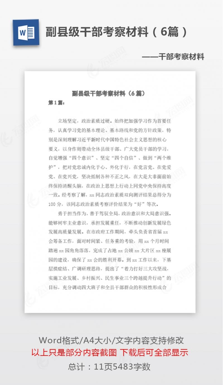[个人对照检查材料 ]副县级干部考察材料(6篇)